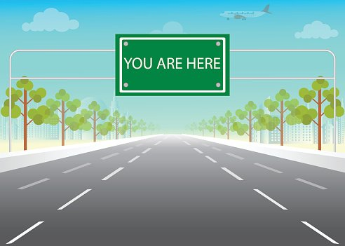 Road sign with you are here words on highway. Clipart Image.