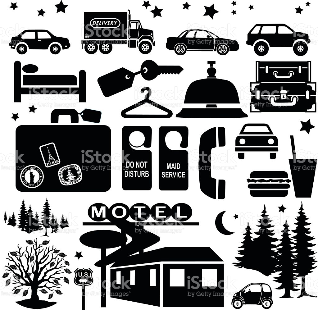 Staying At A Motel When Travelling Design Elements stock vector.