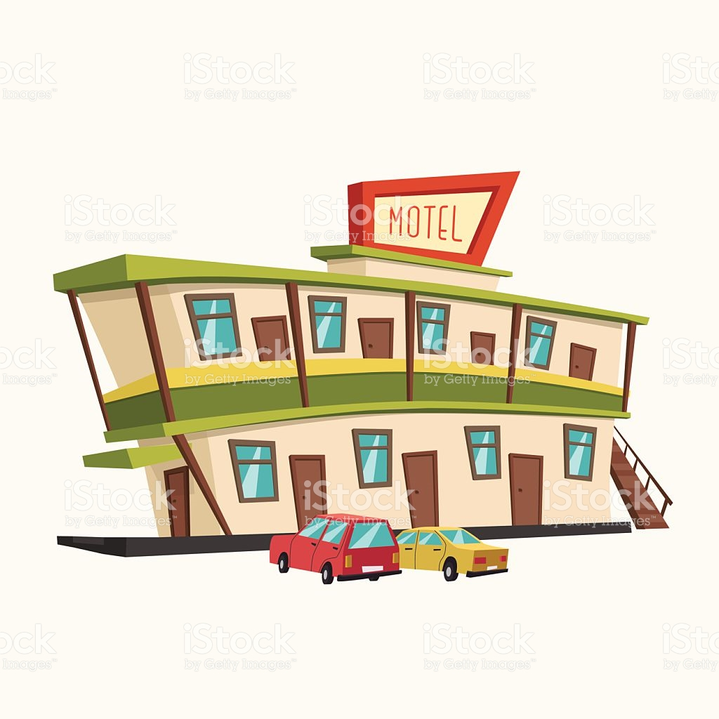 Motel In The Desert Old Signboard Vector Cartoon Illustration.