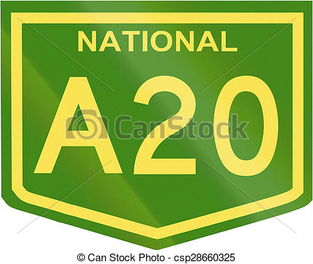Clip Art of Australian National Highway Number A20.