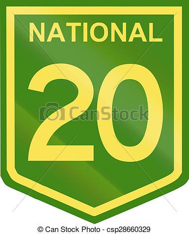 Clip Art of Australian National Highway Number 20.