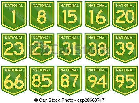 Clipart of Australian National Highway Shields Number 1 To 95.