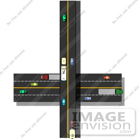 Traffic on Crossroads Highways Clipart.