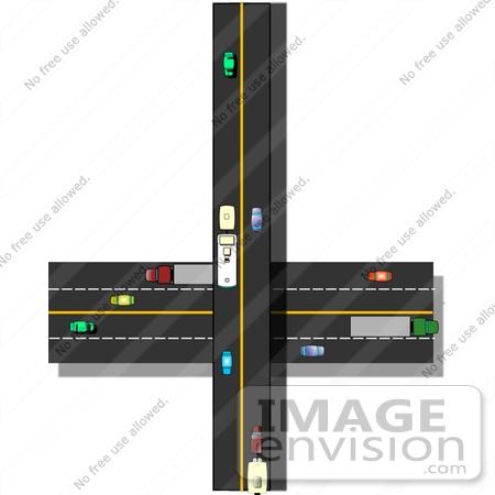 Traffic on Crossroads Highways Clipart.