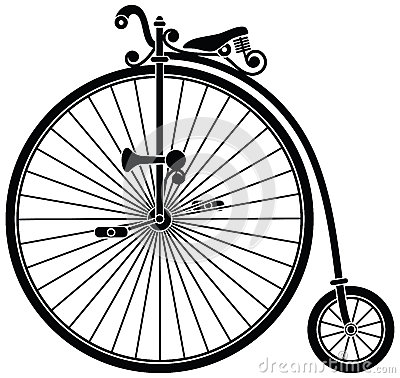Penny Farthing Historical Bicycle Stock Photo.