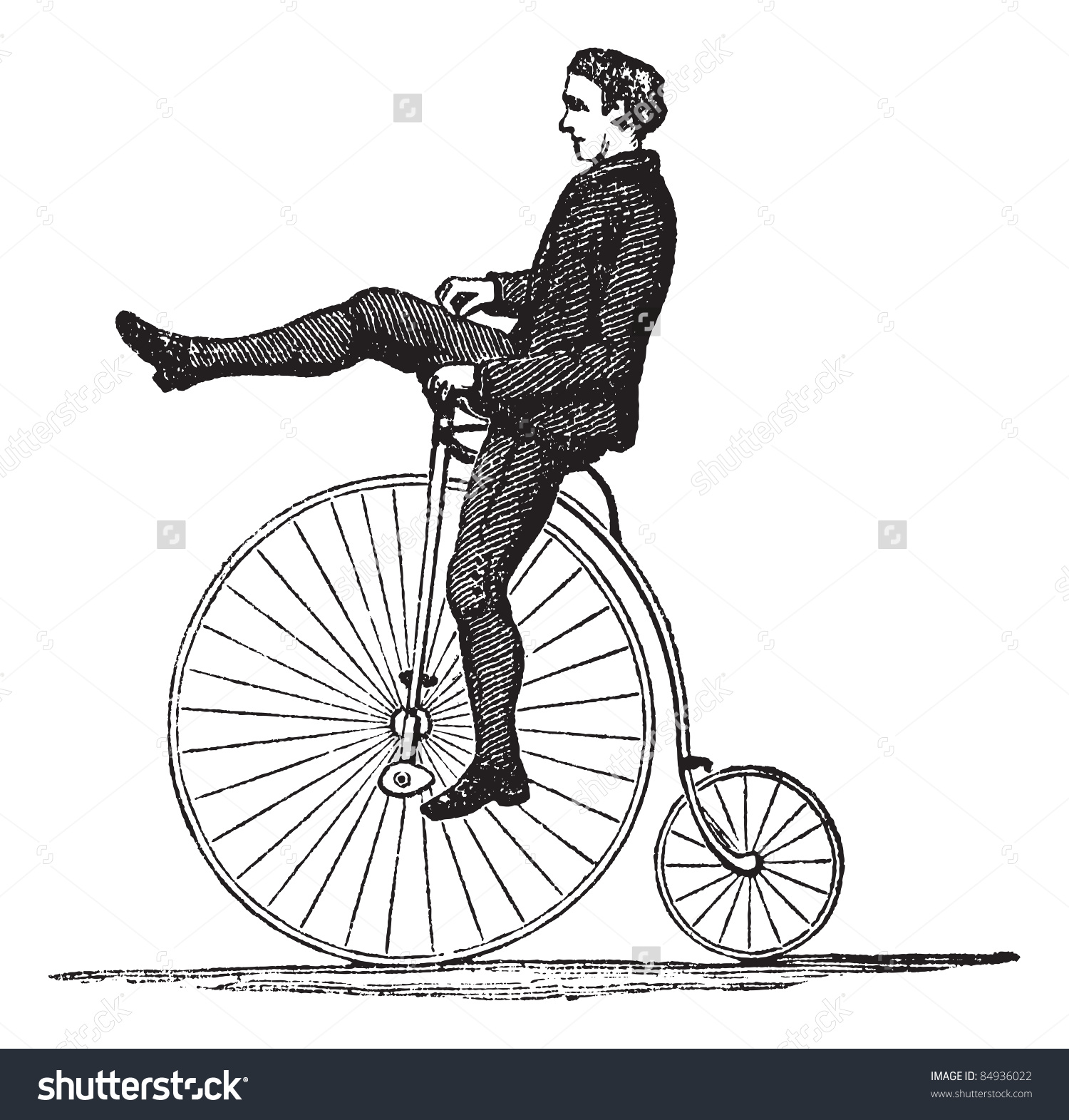 Pennyfarthing High Wheel Bicycle Showing How Stock Vector 84936022.