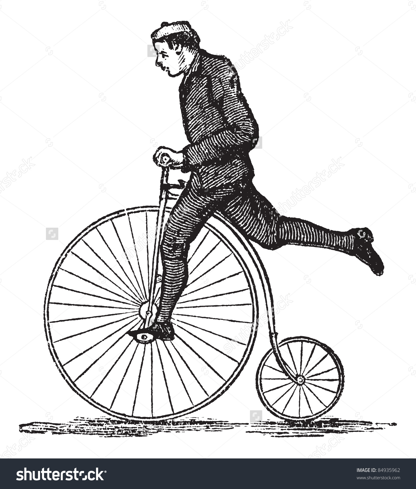 Pennyfarthing High Wheel Bicycle Showing How Stock Vector 84935962.