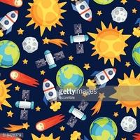 Nahtlose Muster Von Sonnensystem, Planeten UND stock.