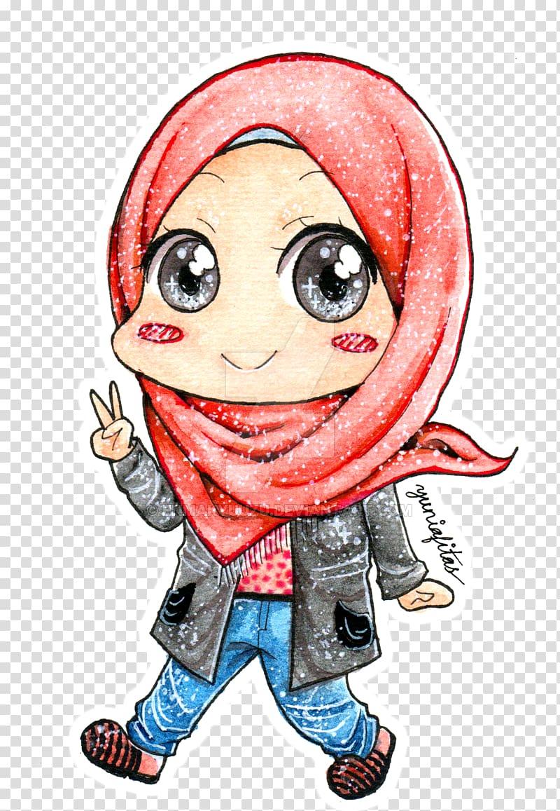 Chibi Drawing Art Hijab, Chibi transparent background PNG.