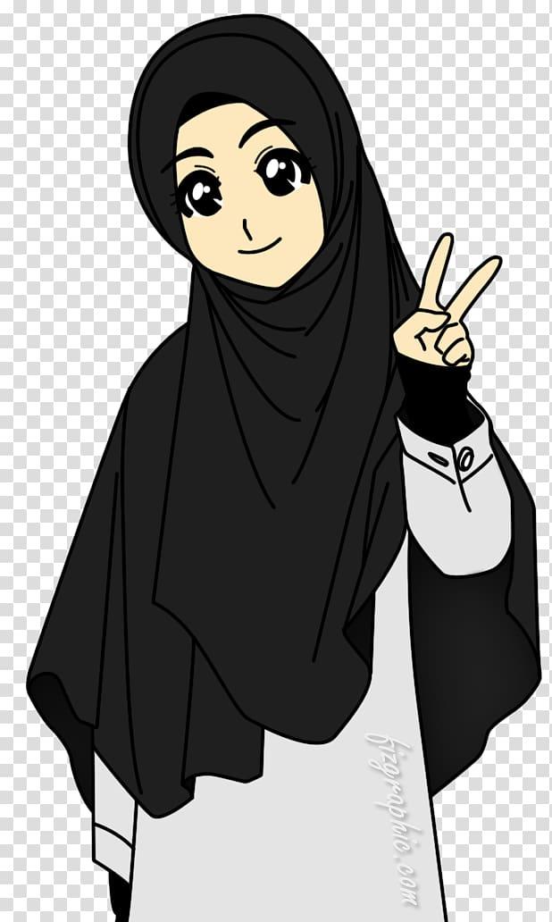 Woman in black hijab veil illustration, Muslim Islam Hijab.