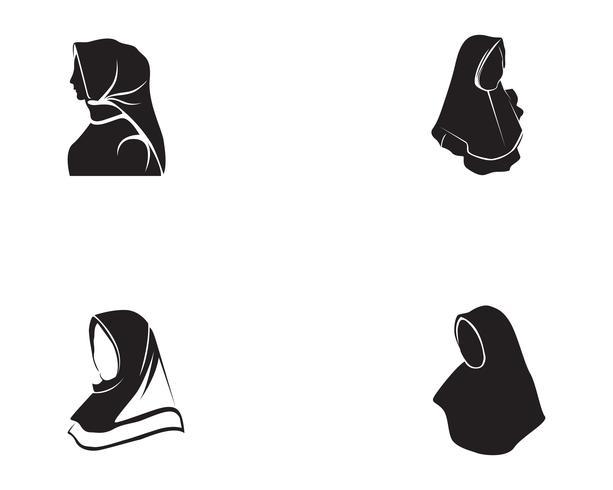 hijab vector black.