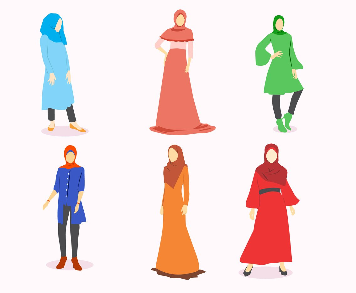 Hijab Fashion Vector Vector Art & Graphics.