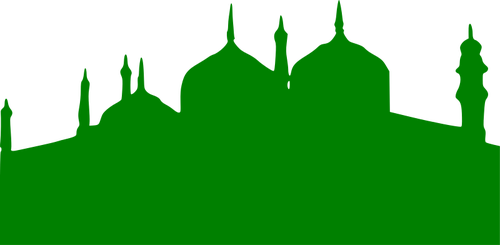 Vector clip art of green silhouette of a mosque.