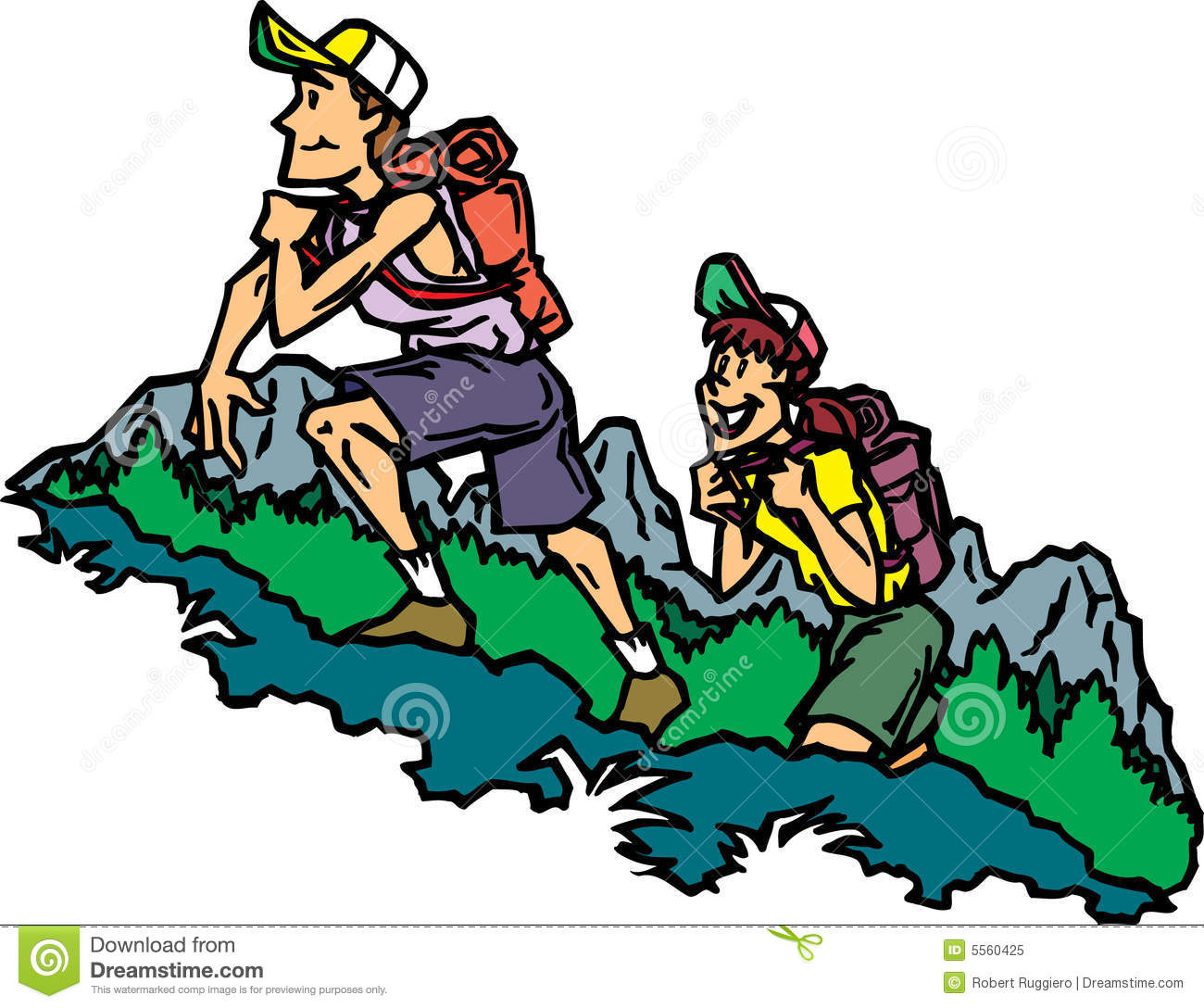Mountain hike clipart.