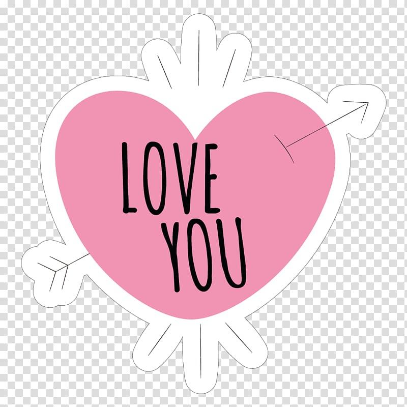 White and pink love you text with heart illustration.