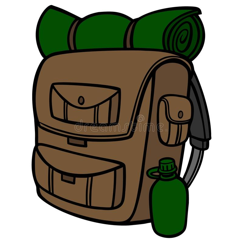 Hiking Backpack Stock Illustrations.