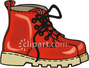 Pair of Red Hiking Boots.