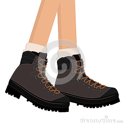 Hiking Boots Stock Illustrations.