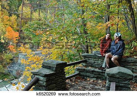 Stock Photograph of Hiking Break in Letchworth k6520269.