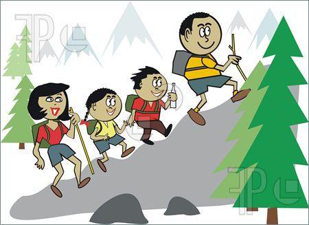 Family hiking cartoon in 2019.