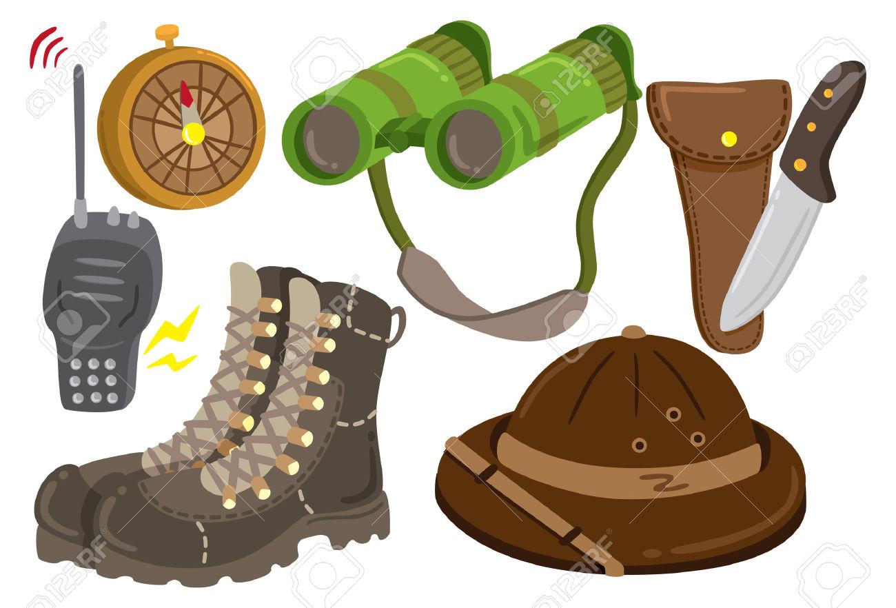 Trekking Equipments Clipart.