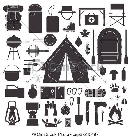 Hiking and Camping Outline Icon Set..
