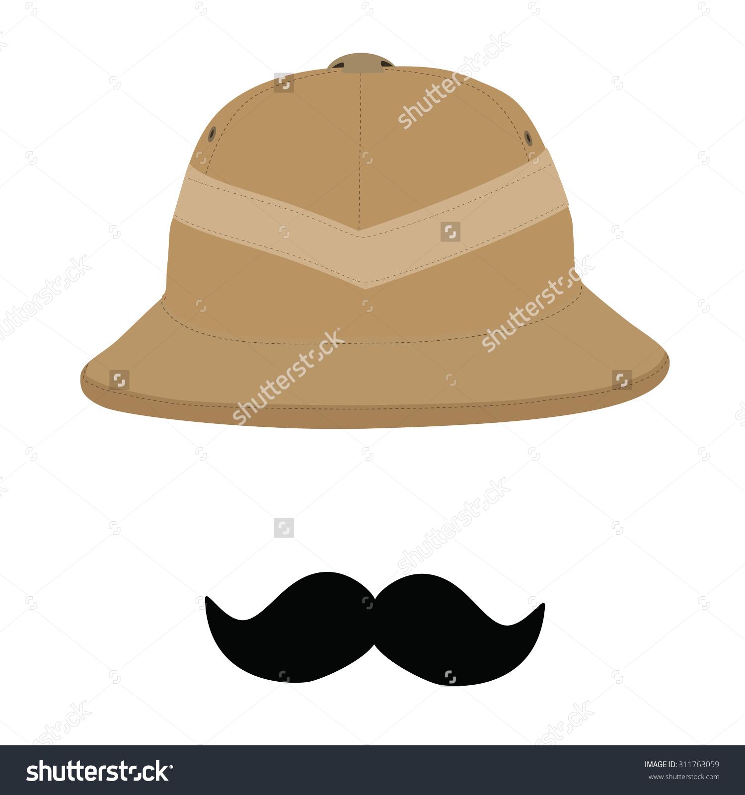Safari Hat Black Mustache Pith Helmet Stock Vector 311763059.