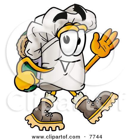 Clipart Picture of a Chefs Hat Mascot Cartoon Character Hiking and.
