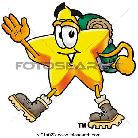 Clipart of Star hiking st01s023.