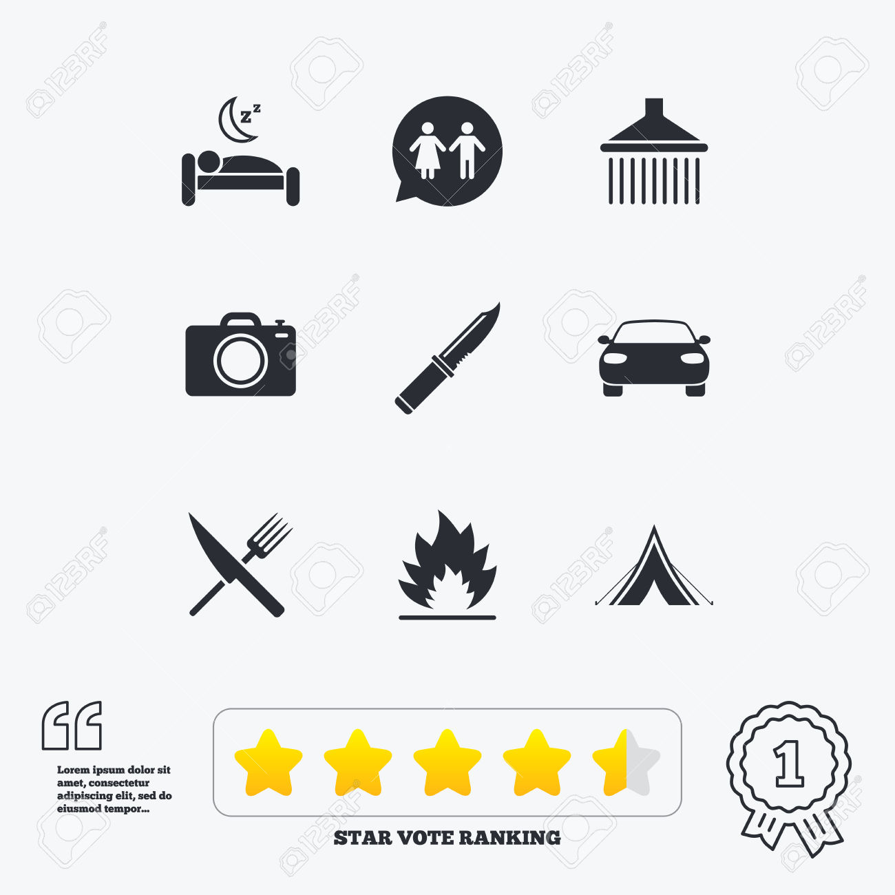 Hiking Trip Icons. Camping, Shower And Wc Toilet Signs. Tourist.