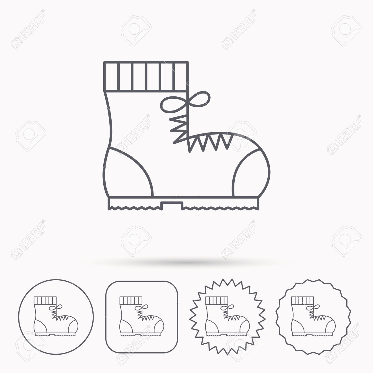 Boot Icon. Hiking Or Work Shoe Sign. Military Footwear Symbol.