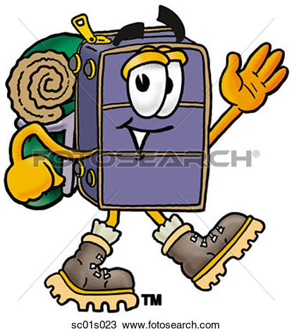 Clipart of Suitcase hiking sc01s023.