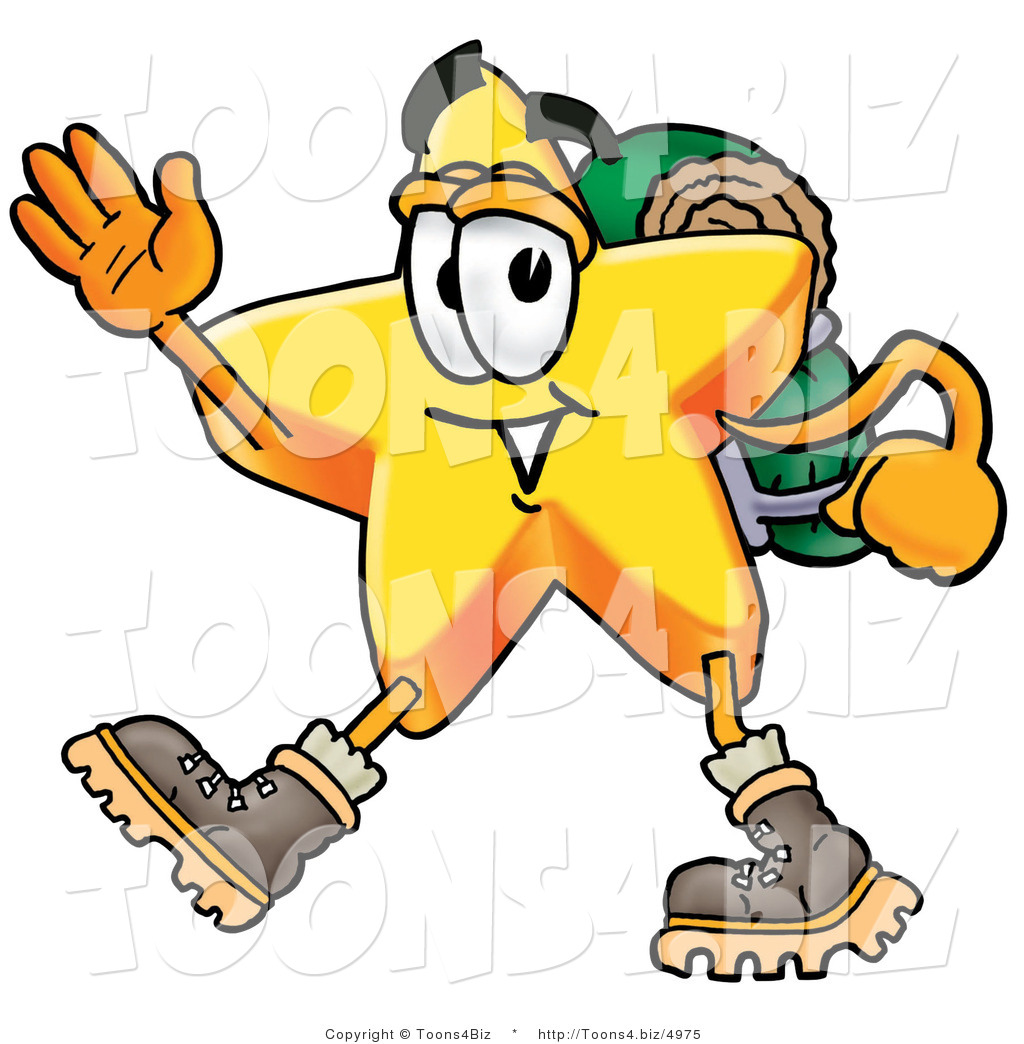 Illustration of a Cartoon Star Mascot Hiking and Carrying a.