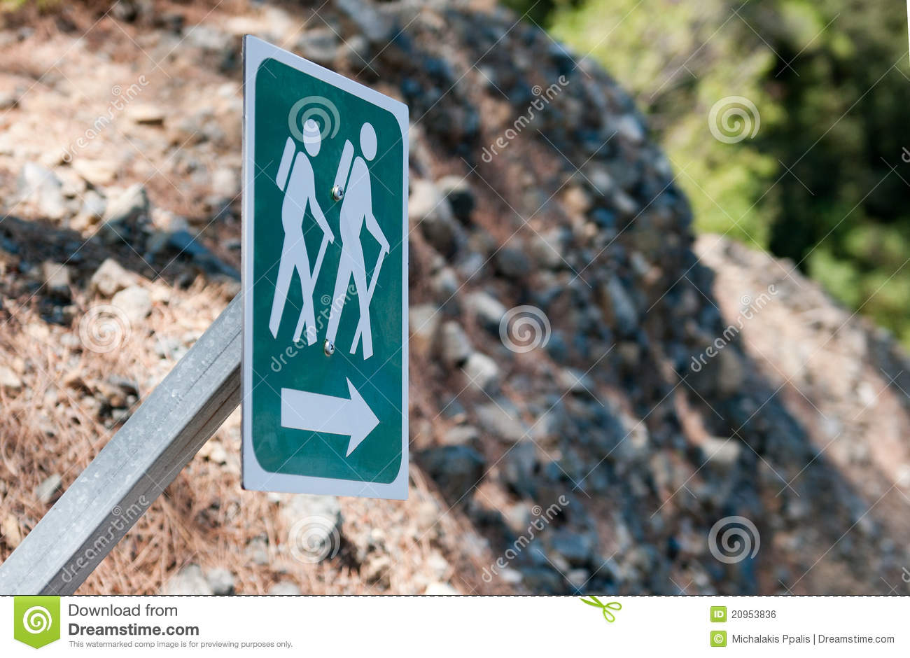 Nature Trail Footpath Hiking Sign Royalty Free Stock Image.