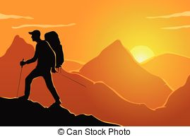 Traveler man hiking over mountain background outdoor.
