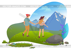 Couple in Mountains, Hiking and Traveling, Date.
