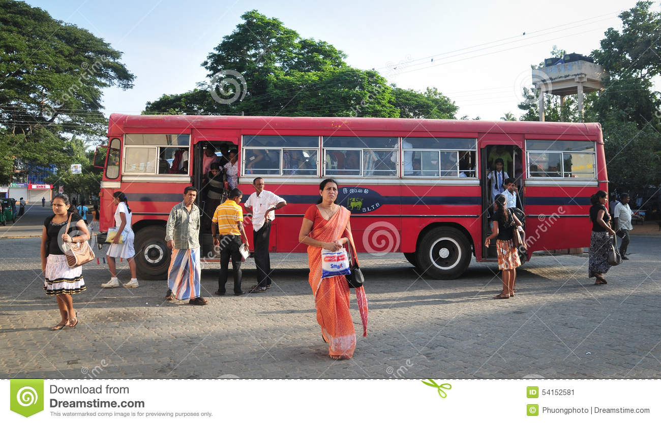 Regular Public Bus From Hikkaduwa To Galle In Sri Lanka. Editorial.