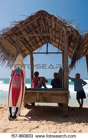 Stock Photo of Surfers on Hikkaduwa Beach, Sri Lanka f57.