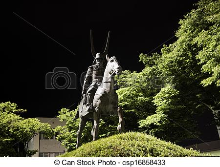 Stock Photos of Statue of Ii Naomasa in Hikone, Shiga prefecture.