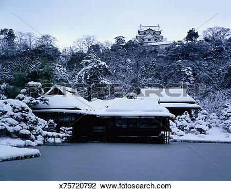 Stock Photo of Castle of Hikone in Winter x75720792.