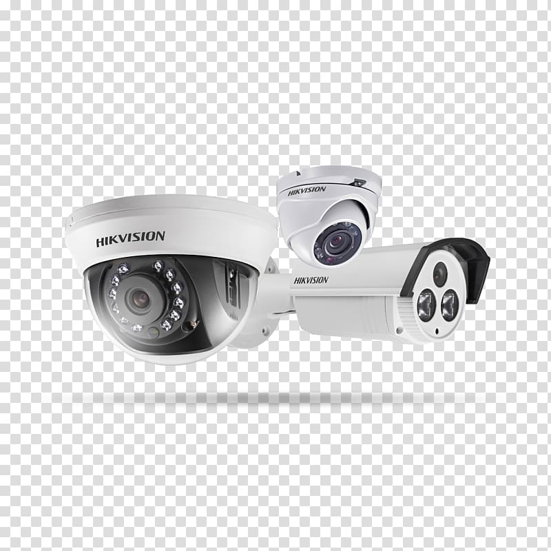 Three white HIK Vision security camers, Closed.