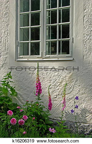 Stock Photograph of Wall with flowerbed k16206319.
