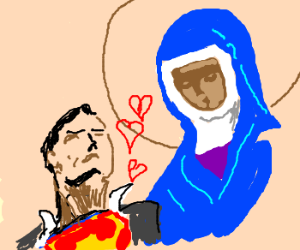 superman loves Hildegard von Bingen (drawing by Moku).