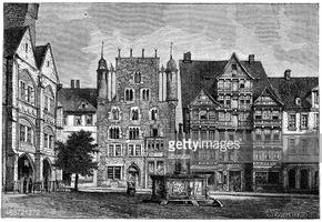 Antique Illustration of Hildesheim Town Square stock vectors.