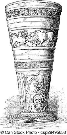 Clipart Vector of Silver Goblet treasure of Hildesheim, vintage.