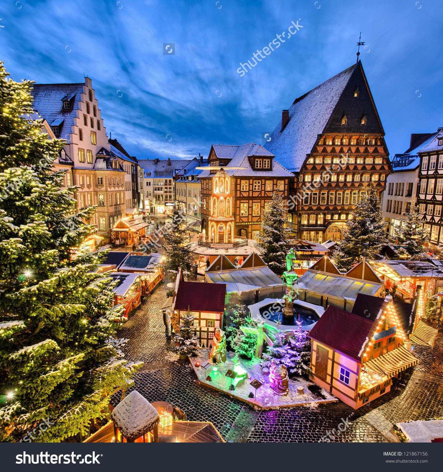 Christmas Market On Historic Market Place Stock Photo 121867156.