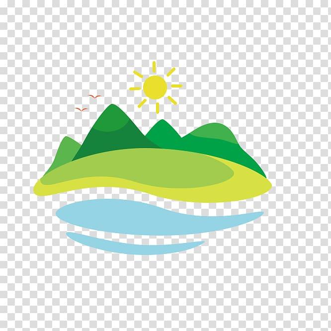 Sun illustration, Cartoon Hill , Cartoon hills,Hill.