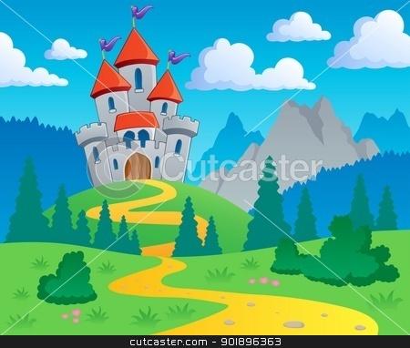 Castle theme landscape 1 stock vector.