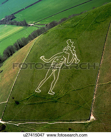 Picture of England, Dorset, Cerne Abbas, An aerial view of the.