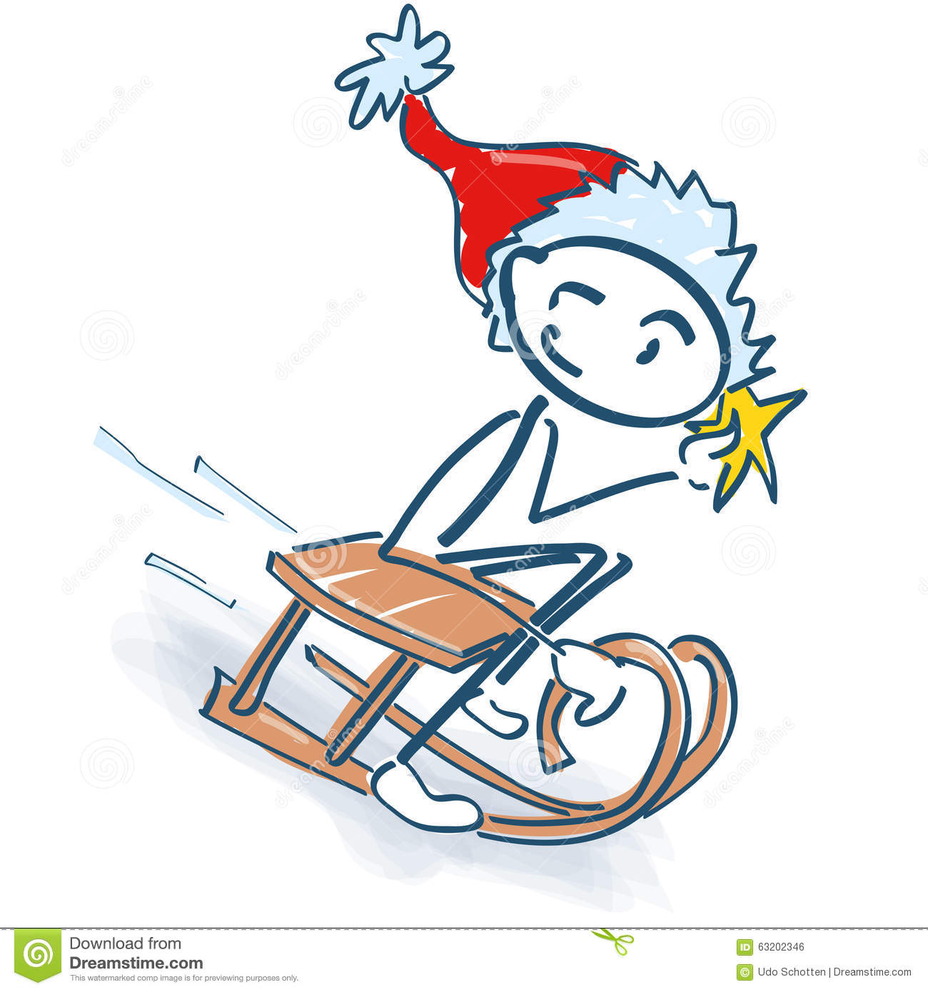 Stick Figure As Santa Claus With Sleigh Stock Vector.
